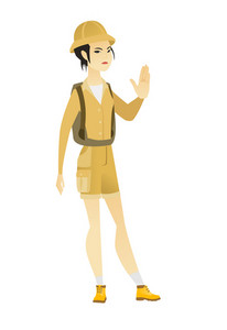 Asian traveler showing stop hand gesture. Full length of young traveler doing stop gesture. Serious female traveler with a stop gesture. Vector flat design illustration isolated on white background.