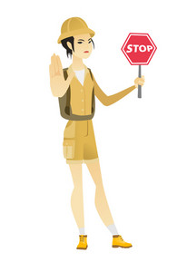 Asian traveler showing stop road sign. Full length of young traveler holding stop road sign. Serious female traveler with stop road sign. Vector flat design illustration isolated on white background.