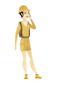 Asian traveler talking on a mobile phone. Young smiling traveler talking on cell phone. Female traveler using cell phone. Vector flat design illustration isolated on white background.