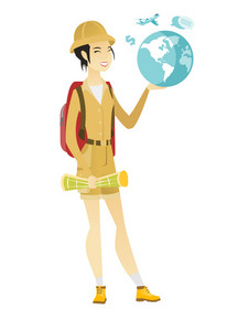 Asian traveler woman carrying a map and a globe. Young traveler planning holiday and holding a globe. Woman travelling all over the world. Vector flat design illustration isolated on white background.