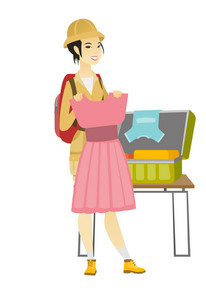 Asian traveler woman putting a dress into a suitcase. Traveler woman packing clothes in an opened suitcase. Woman preparing for vacation. Vector flat design illustration isolated on white background.