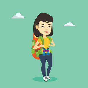 Asian traveler woman standing with backpack and binoculars. Smiling traveler woman enjoying recreation time in nature. Traveler woman during summer trip. Vector flat design illustration. Square layout