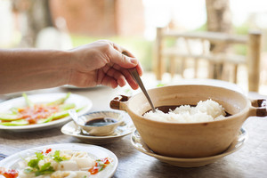 Asian vietnamese food served in traditional way