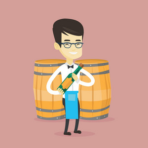 Asian waiter holding a bottle of wine. Young waiter with bottle in hands standing on the background of wine barrels. Waiter presenting a wine bottle. Vector flat design illustration. Square layout.