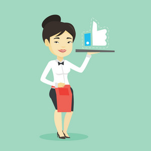 Asian waitress carrying tray with social network like button. Waitress holding restaurant tray with like button. Waitress with social network button. Vector flat design illustration. Square layout.