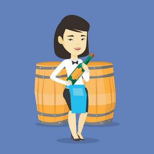 Asian waitress holding a bottle of wine. Waitress with bottle in hands standing on the background of wine barrels. Waitress presenting a wine bottle. Vector flat design illustration. Square layout.