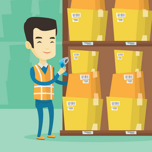 Asian warehouse worker working with a scanner. Warehouse worker scanning barcode on box. Warehouse worker checking barcode of boxes with a scanner. Vector flat design illustration. Square layout.