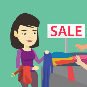 Asian woman choosing clothes in shop on sale. Happy female customer buying clothes at store on sale. Young girl shopping in clothes shop on sale. Vector flat design illustration. Square layout.