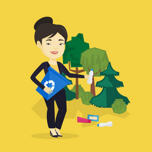 Asian woman collecting garbage in recycle bin. Young woman with recycling bin in hand picking up used plastic bottles in forest. Waste recycling concept. Vector flat design illustration. Square layout