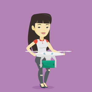 Asian woman controlling delivery drone with post package. Woman getting post package from delivery drone. Woman sending parcel with delivery drone. Vector flat design illustration. Square layout.