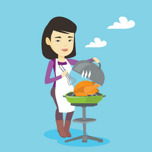 Asian woman cooking chicken on barbecue grill outdoors. Smiling woman having a barbecue party outdoor. Happy woman preparing chicken on barbecue grill. Vector flat design illustration. Square layout.