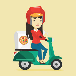 Asian woman delivering pizza on scooter. Courier driving a motorbike and delivering pizza. Worker of delivery service of pizza. Food delivery concept. Vector flat design illustration. Square layout.