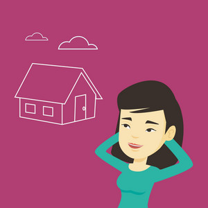 Asian woman dreaming about future life in a new house. Smiling woman planning future purchase of her own house. Woman thinking about buying a house. Vector flat design illustration. Square layout.