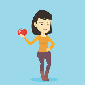 Asian woman enjoying fresh healthy red apple. Young woman holding an apple in hand. Cheerful woman eating an apple. Concept of healthy nutrition. Vector flat design illustration. Square layout.