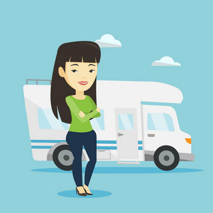 Asian woman enjoying her vacation in motor home. Young woman standing with arms crossed in front of motor home. Happy woman traveling by motor home. Vector flat design illustration. Square layout.