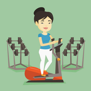 Asian woman exercising on elliptical trainer. Young woman working out using elliptical trainer in the gym. Woman doing exercises on elliptical trainer. Vector flat design illustration. Square layout.