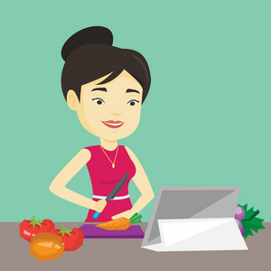 Asian woman following recipe for vegetable salad on digital tablet. Young woman cutting vegetables for salad. Woman cooking healthy vegetable salad. Vector flat design illustration. Square layout.