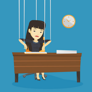 Asian woman hanging on strings like marionette. Business woman marionette on ropes sitting in office. Emotionless marionette business woman working. Vector flat design illustration. Square layout.