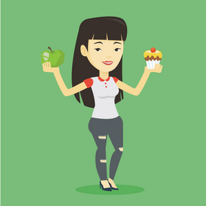 Asian woman holding apple and cupcake in hands. Woman choosing between apple and cupcake. Concept of choice between healthy and unhealthy nutrition. Vector flat design illustration. Square layout