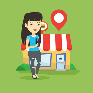 Asian woman holding smartphone with mobile application for looking for restaurant. Woman using smartphone application for searching of restaurant. Vector flat design illustration. Square layout.
