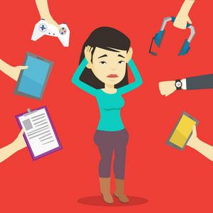Asian woman in despair surrounded with gadgets. Woman clutching head and many hands with modern gadgets around her. Woman using many electronic gadgets. Vector flat design illustration. Square layout.