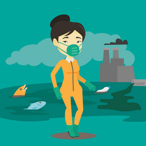 Asian woman in gas mask and radiation protective suit standing on the background of nuclear power plant. Scientist wearing radiation protection suit. Vector flat design illustration. Square layout.