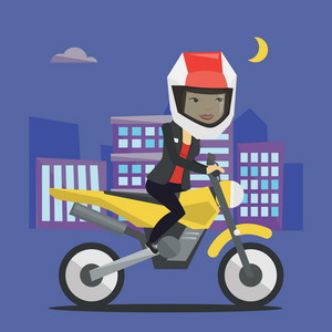 Asian woman in helmet riding a motorcycle on the background of night city. Woman driving a motorcycle on city road. Woman riding a motorcycle at night. Vector flat design illustration. Square layout.