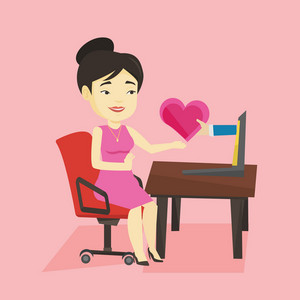 Asian woman looking for online date on the internet. Woman using laptop and dating online. Woman dating online and getting virtual love message. Vector flat design illustration. Square layout.