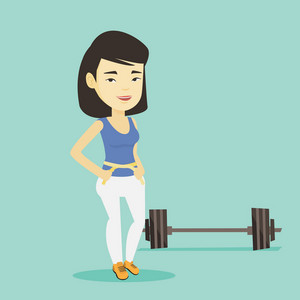 Asian woman measuring waistline with a tape. Woman measuring with tape the waistline. Happy woman with centimeter on a waistline standing near a barbell. Vector flat design illustration. Square layout
