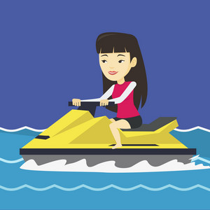 Asian woman on jet ski in the sea at summer day. Young woman on a water scooter. Woman riding on a water scooter. Excited woman training on a jet ski. Vector flat design illustration. Square layout.