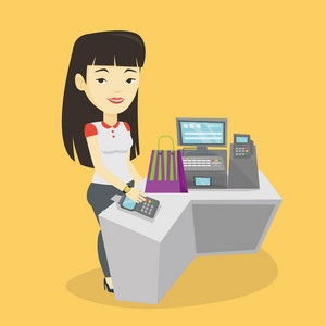 Asian woman paying wireless with her smart watch at the checkout counter. Customer making payment for purchase with smart watch. Woman doing shopping. Vector flat design illustration. Square layout.