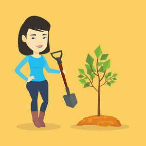 Asian woman plants a small tree. Cheerful woman standing with shovel near newly planted tree. Young woman gardening. Concept of environmental protection. Vector flat design illustration. Square layout