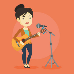 Asian woman playing guitar. Guitar player singing song and playing an acoustic guitar. Singer singing into a microphone and playing acoustic guitar. Vector flat design illustration. Square layout.