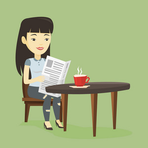 Asian woman reading newspaper in a cafe. Young woman reading the news in newspaper. Woman sitting with newspaper in hands and drinking coffee. Vector flat design illustration. Square layout.