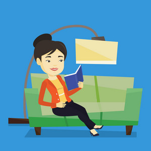 Asian woman relaxing with a book on the couch at home. Smiling woman reading a book on a sofa. Happy young woman sitting on a sofa and reading a book. Vector flat design illustration. Square layout.