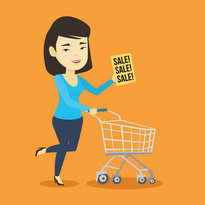 Asian woman running on big sale. Woman holding paper sheet with sale text. Woman with empty shopping trolley running in hurry to the store on sale. Vector flat design illustration. Square layout.