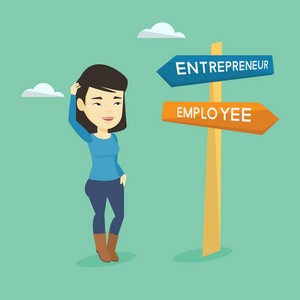 Asian woman standing at road sign with two career pathways - entrepreneur and employee. Woman choosing career way. Woman making a decision of her career. Vector flat design illustration. Square layout