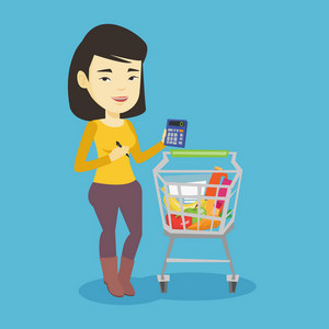 Asian woman standing near supermarket trolley with calculator in hand. Young woman checking prices on calculator. Customer counting on calculator. Vector flat design illustration. Square layout.