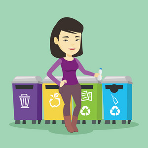 Asian woman throwing away garbage. Young woman standing near four bins and throwing away garbage in an appropriate bin. Concept of garbage separation. Vector flat design illustration. Square layout.