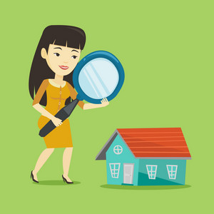 Asian woman using a magnifying glass for looking for a new house. Woman with a magnifying glass checking a house. Woman analyzing house with loupe. Vector flat design illustration. Square layout.