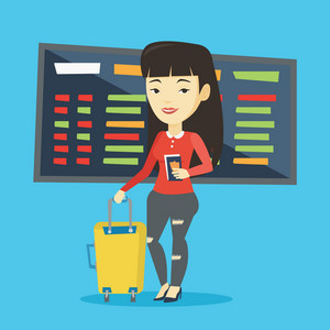Asian woman waiting for a flight at the airport. Passenger holding passport and airplane ticket. Young woman with suitcase standing at the airport. Vector flat design illustration. Square layout.