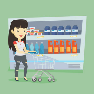 Asian woman walking with cart on aisle at supermarket. Young woman pushing an empty supermarket cart. Customer shopping at supermarket with cart. Vector flat design illustration. Square layout.