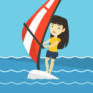 Asian woman windsurfing at summer day. Woman standing on the board with sail for surfing. Woman learning to windsurf. Windsurfer training on the water. Vector flat design illustration. Square layout.