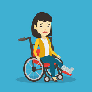 Asian woman with leg in plaster suffering from pain. Injured woman sitting in wheelchair with broken leg. Woman with fractured leg sitting in wheelchair. Vector flat design illustration. Square layout