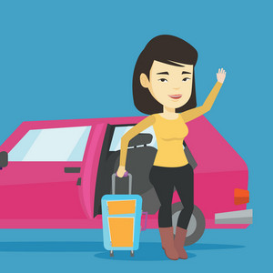 Asian woman with suitcase standing on the background of open car door. Young happy woman waving in front of car. Happy woman going to vacation by car. Vector flat design illustration. Square layout.