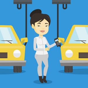 Asian worker of car factory. Happy young engineer at work on car factory. Worker controlling modern automated assembly line for cars. Car production. Vector flat design illustration. Square layout.
