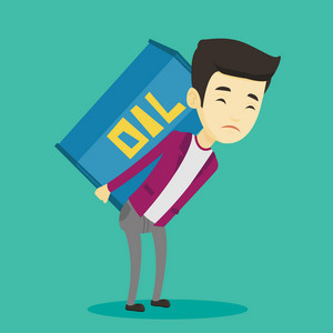 Asian worker of oil industry carrying barrel on his back. Young worker walking with oil barrel on his back. Man holding heavy oil barrel on his back. Vector flat design illustration. Square layout.