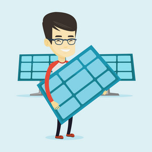 Asian worker of solar power plant holding solar panel in hands. Young man with panel in hands standing on the background of solar power plant. Vector flat design illustration. Square layout.