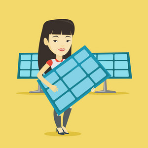 Asian worker of solar power plant holding solar panel in hands. Young woman with panel in hands standing on the background of solar power plant. Vector flat design illustration. Square layout.