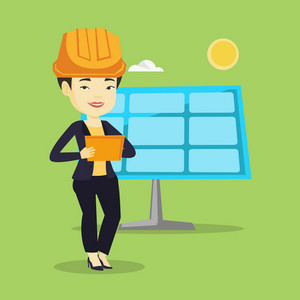 Asian worker of solar power plant. Young engineer working on a digital tablet at solar power plant. Engineer in hard hat checking solar panel setup. Vector flat design illustration. Square layout.